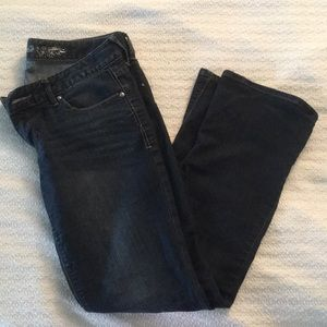 Barely boot, slim fit, low-rise dark wash jeans